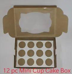 Brown Plain 12pc mini cup Cake Box