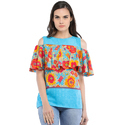 Cottinfab Women's Printed Cold Shoulder Top