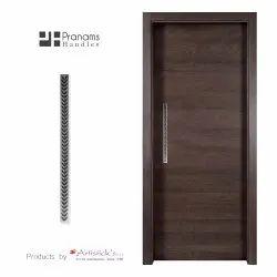 white metal door handles