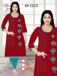 Printed Kurti with Light Blue Legging