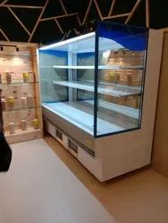 G I powder coated WITH OUT DOOR Open Type Fruit Chiller Display or Super Market Display cabinate, Frost-Free, 0 To +6