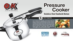 Stainless Steel Standard Shape 6.0 Ltr Pressure Cooker, Usage: Home, Hotel/Restaurant