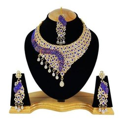 Purple and Gold FNS-011 Zerconic Wedding Necklace Set, Packaging Type: Box