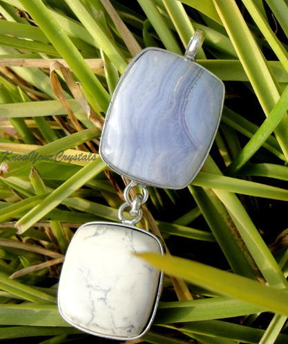 Lace Agate And Howlite Pendant