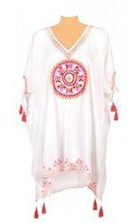 Embroidered Beachwear Kaftan With Tassels