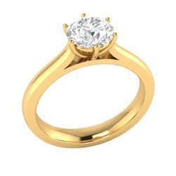 Solitaire Real Natural Diamond Wedding Ring in Yellow Gold