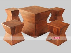 Solid Wooden Cafeteria Chairs and Tables, Size: 60x60x45 Cms, Seating Capacity: 4 Seater