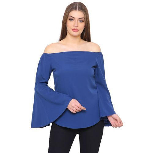 9677c1ef43d Polyester Crepe Blue Off Shoulder Plain Top, Rs 275 /piece | ID ...