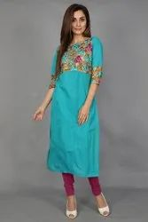 Neels Solid Rama Green South Cotton Straight Fit Kurta With Embroidered Net Patch