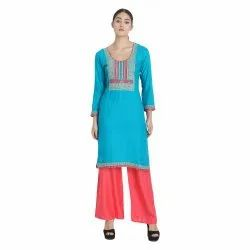 Neck Design Embroidered Kurti