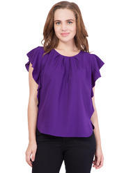 Cotton Plain Flax Fashion Women''s Regular Fit Top