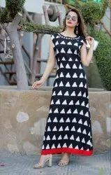 Ankle Length Round Neck Black Printed Kurti Long Designer In Reyon Fabrics Sleeveless
