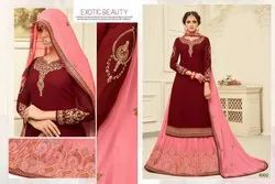 Multicolor As Shown In Image Georgette Embroidery Lehnga Suit