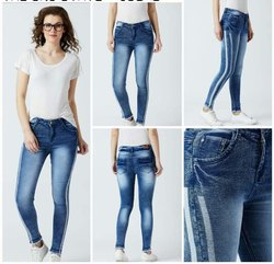 Sky Blue Comfort Starch Print Jeans For Ladies