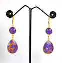 Copper Turquoise Gemstone Gold Plated Lever Back Earrings