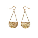 Geometric Statement Long Gold Finish Dangle Earring