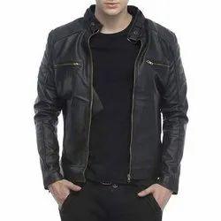 Full Sleeve Casual Wear Mens Leather Black Jacket, Size: S-XXL