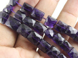 Amethyst Faceted Chicklets Shape Beads