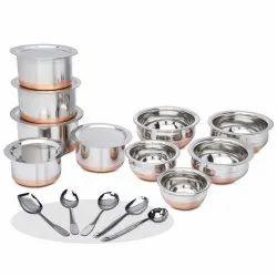 Klassi Kichen Stainless Steel 15pc Copper Bottom Cookware