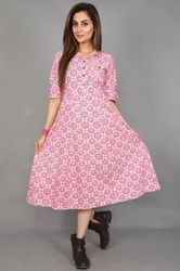 3/4th Sleeves Neels Printed Pink Cotton Flared Dress