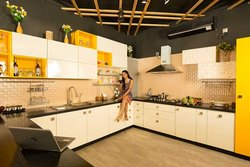 Modern L Shape Laminated Modular Kitchen