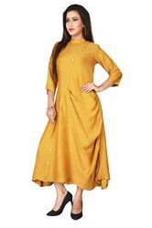Mustard Designer Cowl Dress