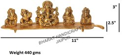 Gold Plated 5 Ganesh