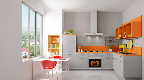 Kutchina L Shape Residential Floriana Modular Kitchen, Warranty: 1-5 Years