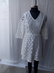 White Lace Dress With Full  Lining