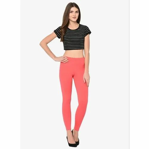 Radical Red 92% Cotton, 8% Spandex Red Ankle Length Leggings