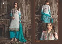 White & Sky Blue Embroidery Georgette Salwar Kameez