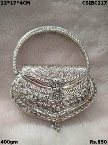 Silver Metal Clutch With Handle