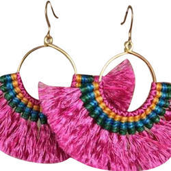 Multicolor Aashita Fineries Ladies Handcrafted Earrings, Size: Standard