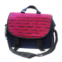 Canvas And Fabric Blue And Pink Ethnic Laptop Bag