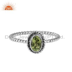 Peridot Gemstone Oxidized 925 Sterling Silver Ring Jewelry