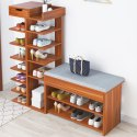 Kawachi Wooden Shoe Organiser Stand with Shoes Changing Seat Cushion, Storage Rack with Drawer