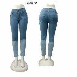 Slim Bottom Blue Silky Half Bleach Jeans For Women