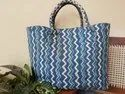 Blue Block Printed Canvas Bag, Size/dimension: 14 X 22 Inches