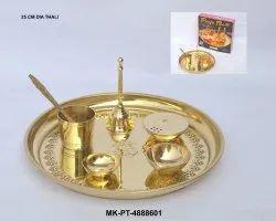 MKI Brass Puja Thali, Dimension: Dia. 10