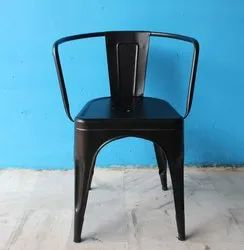 MS Iron Metal Black Powder Coated Dining Cafe Chair for Restaurant, Set Size: Single