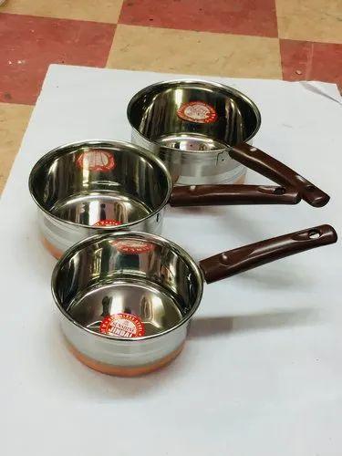 Silver Stainless Steel Backelite Handle Copper Sauce Pan