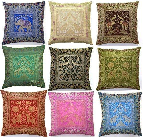 Indian Silk Brocade Elephant And Peacock Cushion Cover कुशन Interesting Indian Silk Decorative Pillows