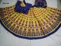 Designer Ladies Yellow And Blue Cotton Chaniya Choli, Dry Clean