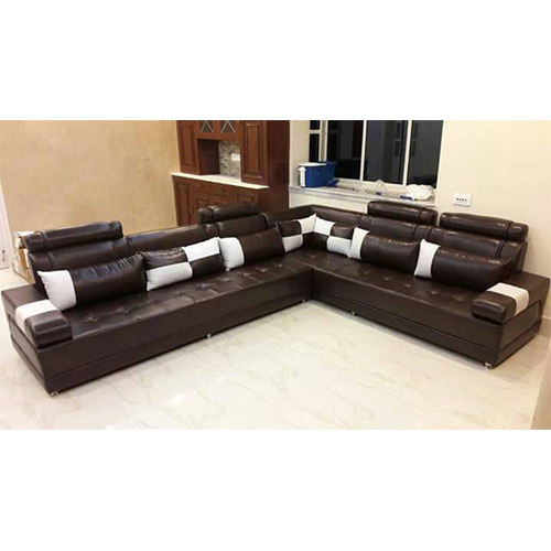 brown leather l shaped sofa set rs 20000 set arif enterprise id rh indiamart com l shaped leather sofa covers l shaped leather sofa grey