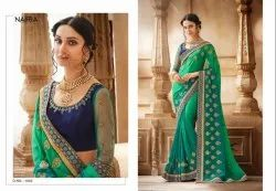 Nairra Party Wear Stunning Collection of Embroidered Saree, With Blouse Piece