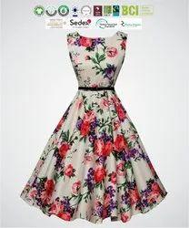 Eco Cotton Ladies Party Wear Dress