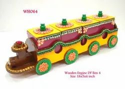 Wooden Decorative Dryfruit Box Train Shape