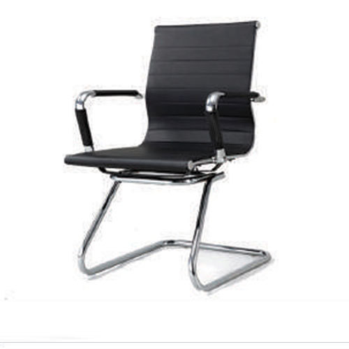 Black Sleek Rexine Visitor Chair