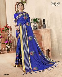 stylishj   Blue Ethnic Plain Saree
