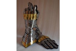 Greek Armour Silver Finish Arm Gloves Steel with Leather